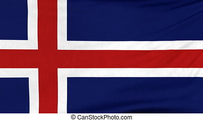 National flag of Iceland flying on the wind