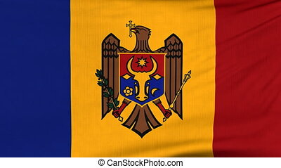 National flag of Moldova flying on the wind - National flag...