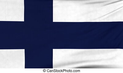 National flag of Finland flying on the wind - National flag...