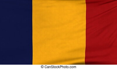 National flag of Romania flying on the wind - National flag...