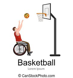 Disabled people On Wheelchair Play basketball for handicapped, disability sport vector