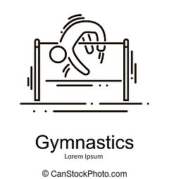 Gymnastics athlete at horizontal bar doing exercise, sport competition vector illustration