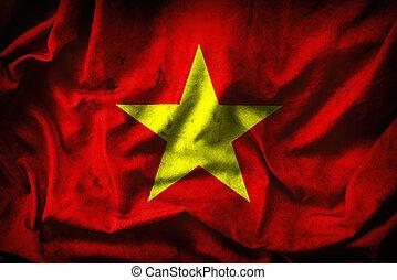 Grunge Vietnam Flag -- vintage background - close up