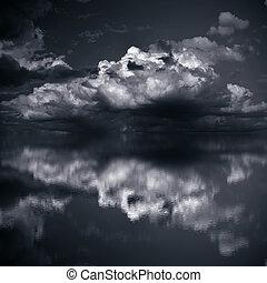 Dark Clouds over Sea - Dark clouds over sea Imitation black...