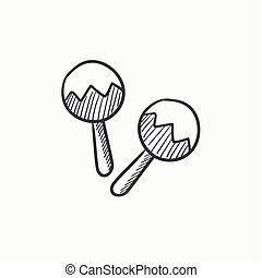Maracas sketch icon. - Maracas vector sketch icon isolated...