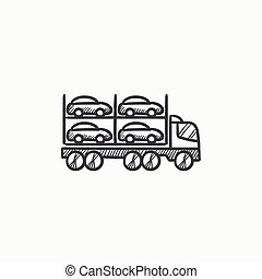 Car carrier sketch icon - Car carrier vector sketch icon...