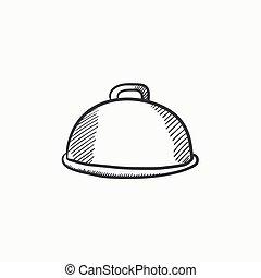 Restaurant cloche sketch icon. - Restaurant cloche vector...