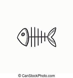 Fish skeleton sketch icon.