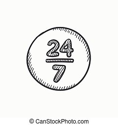 Open 24 hours and 7 days in wheek sketch icon. - Open 24...