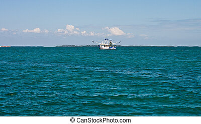 Shrimp Boat on Azure Sea - A shrimp boat on blue water under...