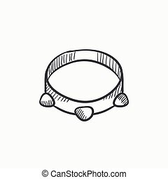 Tambourine sketch icon - Tambourine vector sketch icon...
