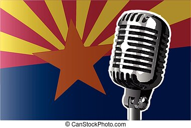 Arizona Flag And Microphone - The state of Arizona flag with...