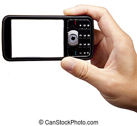 hand holding camera mobile phone isolated on white...