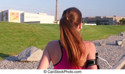 Running women Back running atlete Slow motion - Running...