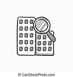 Condominium and magnifying glass sketch icon - Condominium...