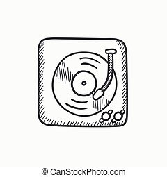 Turntable sketch icon - Turntable vector sketch icon...