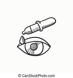 Pipette and eye sketch icon - Pipette and eye vector sketch...