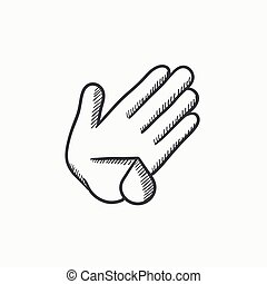 Wounded palm sketch icon. - Wounded palm vector sketch icon...