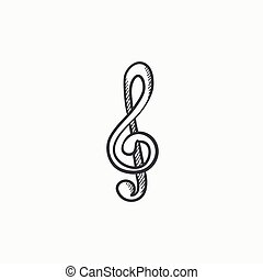 G-clef sketch icon. - G-clef vector sketch icon isolated on...