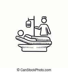 Nursing care sketch icon - Nursing care vector sketch icon...