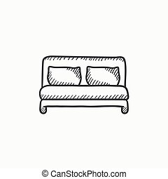 Double bed sketch icon. - Double bed vector sketch icon...