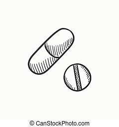 Pills sketch icon - Pills vector sketch icon isolated on...