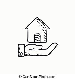 House insurance sketch icon. - House insurance vector sketch...