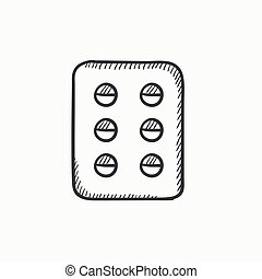 Plate of pills sketch icon - Plate of pills vector sketch...