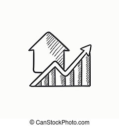 Graph of real estate prices growth sketch icon. - Growth of...