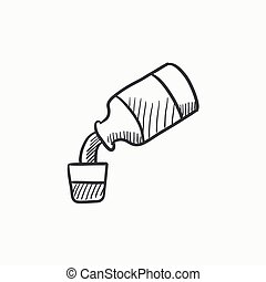 Medicine and measuring cup sketch icon - Medicine and...