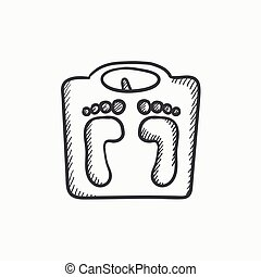 Weighing scale sketch icon. - Weighing scale vector sketch...