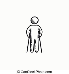 Man with crutches sketch icon. - Man with crutches vector...