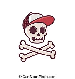 Skull in baseball cap with crossbones