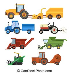 Harvester machine vector set - Set of different types of...