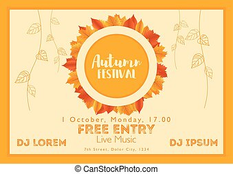 Fall Festival template. Bright colourful autumn leaves on horizontal background. Template for holidays, concerts and parties. Autumn theme
