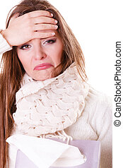 Sick woman girl with fever sneezing in tissue - Flu cold or...