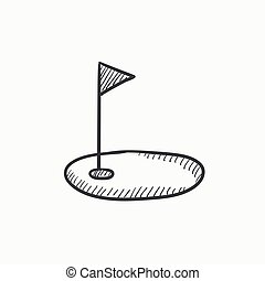 Golf hole with flag sketch icon - Golf hole with flag vector...