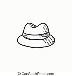Classic hat sketch icon. - Classic hat vector sketch icon...