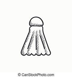 Shuttlecock sketch icon. - Shuttlecock vector sketch icon...
