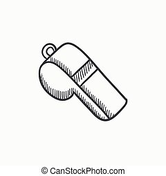 Whistle sketch icon. - Whistle vector sketch icon isolated...