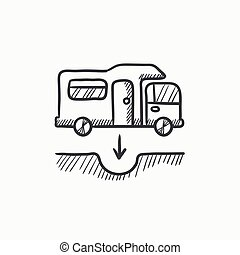 Motorhome and sump sketch icon. - Motorhome and sump vector...