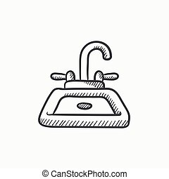 Sink sketch icon - Sink vector sketch icon isolated on...