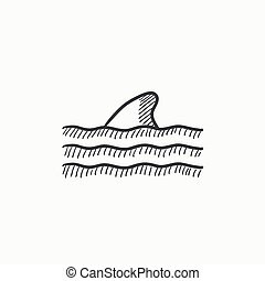 Dorsal shark fin above water sketch icon. - Dorsal shark fin...
