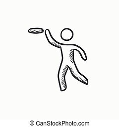 Man with flying disc sketch icon. - Man with flying disc...