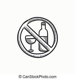 No alcohol sign sketch icon - No alcohol sign vector sketch...