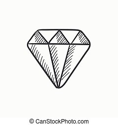 Diamond sketch icon - Diamond vector sketch icon isolated on...