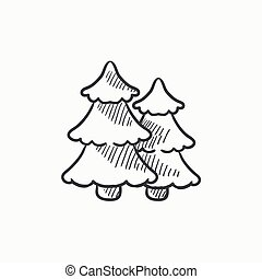 Pine trees sketch icon. - Pine trees vector sketch icon...