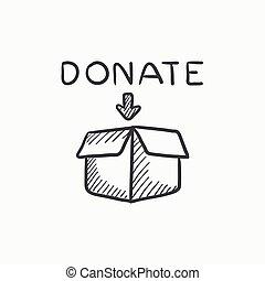Donation box sketch icon.