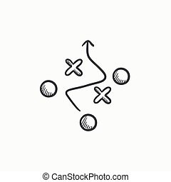 Tactical plan sketch icon - Tactical plan vector sketch icon...