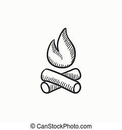 Campfire sketch icon. - Campfire vector sketch icon isolated...